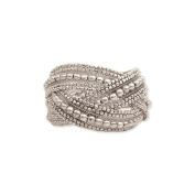 Silver Plate Beaded Braided Cuff Bracelet - Fit Sm to Med - 6 to 18cm
