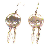 Hand Cut Indian Head Nickels, Buffallo Side, Made Into Earrings with 2 Feathers