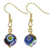 Murano Glass Murano Mosaic Millefiori Ball Earrings - Gold