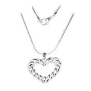 Necklace Rope Open Heart Pendant SilverTone 46cm by Cape Cod Jewellery-CCJ