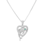 Sterling Silver Simulated Diamond Dolphin Heart Necklace 46cm