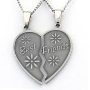 Best Friend Necklaces Break Apart Heart Necklace 2 Half Heart Pieces (2) 46cm Chains Friendship Gifts