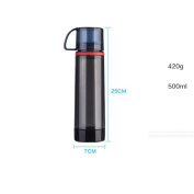Double Glass Bottle Outdoor Sports Water Bottle Car Cup WITH LID 500ml Home Travel Red Black , black , 500ml