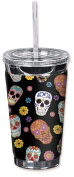 """Mugzie 949-TGC """"Sugar Skull Toss"""" To Go Tumbler with Insulated Wetsuit Cover, 470ml, Black"""