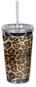 """Mugzie 871-TGC """"Spotted Leopard"""" To Go Tumbler with Insulated Wetsuit Cover, 470ml, Black"""