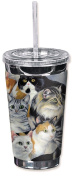 """Mugzie 174-TGC """"Just Cats"""" To Go Tumbler with Insulated Wetsuit Cover, 470ml, Black"""