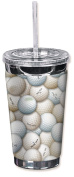 """Mugzie 6500-TGC """"Golf Balls"""" To Go Tumbler with Insulated Wetsuit Cover, 470ml, Black"""