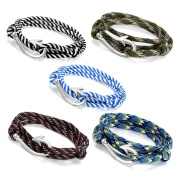 Oidea 5pcs Fish Hook Adjustable Multistrand Military Camouflage Rope Wrist Bracelet for Unisex,80cm -Wear as Anklet, Fishhook Pendant Necklace