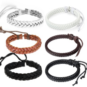 6pcs Oidea Mens Womens Adjustable Leather Woven Wristband Bracelet for Couples, Fit for Wrist 7-27cm