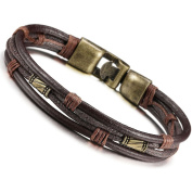 Yan & Lei .  Mens Vintage Leather Wrist Band Brown Rope Bracelet Bangle
