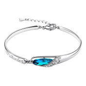 Yan & Lei . Glass Slipper* Sterling Silver 20cm Bangle Bracelet Made with Blue Crystal, Women Fashion Jewellery