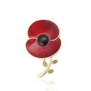The Royal British Legion Poppy Collection Enamel and Leaf Brooch Medium Gold