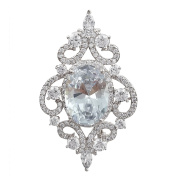 SELOVO Sparkle Vintage Style White Oval CZ Crystal Bridal Pin Brooch Pendant for Wedding Silver Tone