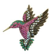 SELOVO Antique Gold Tone Bird Hummingbird Multi Colour Austrian Crystal Pin Brooch