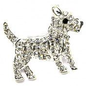 Brand New on Card Cute Terrier Puppy Dog Silver Coloured Metal Brooch - Clear & Black Crystal Embellishments - Approx 2.5cm x 1.9cm