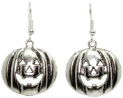 Bluebubble TRICK OR TREAT 24mm Silver Pumpkin Face Earrings