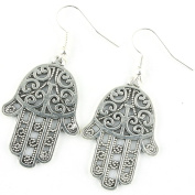 TFB - FUNKY STUNNING SILVER HAMSA HAND EARRINGS QUIRKY NOVELTY BELIEF SPIRITUAL