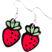 TFB - FUNKY TROPICAL FRUIT RETRO SWEET STRAWBERRY EARRINGS NOVELTY QUIRKY GIFT