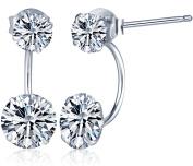 Yumilok Jewellery 925 Sterling Silver Cubic Zirconia Double Ballflower Womens Front and Back Earrings Studs Earring Jackets, Hypoallergenic