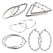 10pcs Oidea Womens Stainless Steel Hinge Hoop Earrings Assorted 5 Style Heart Triangle Round Twisted Dangle Drop Earrings