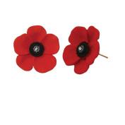 Red and Black Enamel Gold Tone Midi Poppy Stud Earrings