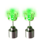 Light Up LED 7mm Stud Party Earrings. Stainless Steel.
