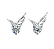 Yan & Lei .  Cute Lady 925 Sterling Silver Jewellery Angel Wings Crystal Ear Stud Earrings