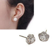 Malloom Fashion Women Sterling Silver Crystal Rhinestone Pearl Ear Earrings Jewellery