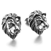 MENDINO Stainless Steel Stud Earrings Cubic Zirconia Silver Black Lion Gothic Mens Womens with Gift Pouth
