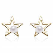 Yan & Lei Sterling Silver Cutout Star with 3 MM Simulated Round Shell Pearl Stud Earrings