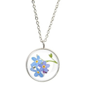 Forget Me Not Image Silver Plated Pendant and Necklace in Gift Box