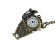 Minifamily® Vintage Bronze Owl Shape Pendant Necklace Watch Come With Free Unique Ring and Rubber Wrist Band