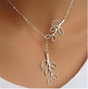 Minifamily® Classic Hollow Out Leaf Leave Tree Branch Shape Silver Pendant Necklace(1 Pc) Come With Free Unique Ring and Rubber Wrist Band