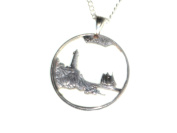 Hand Cut Maine State Quarter Made Into a Necklace with a Bale and 60cm Silver Tone Chain