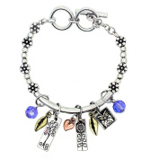 Garden Of Love Bracelet, 'Wisdom' - This Burnished Silver Charm Bracelet (Medium) With Reversible Inspirational Words Is The Perfect Gift For Any Occasion