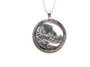 Hand Cut California Quarter with Yosmite NP as a Necklace