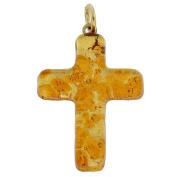 Murano Glass Venetian Reflections Cross Pendant - Topaz Gold