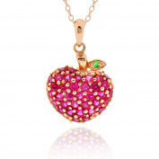 Sterling Silver Rose Gold Plated Synthetic Ruby Strawberry Pendant Necklace 46cm Chain