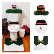 Gabkey 4 Pcs Christmas Santa Bathroom Toilet Seat Cover and Rug Set - Green Snowman