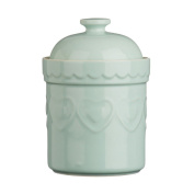 Protege Homeware Pastel Green Heart Stoneware 1.5Ltr Storage Canister