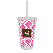 Dabney Lee Lucy Beverage Tumbler with Single Initial, U, Multicoloured