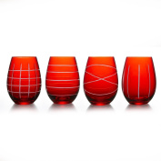 Fifth Avenue Crystal Medallion Stemless Goblets (Set of 4), Red