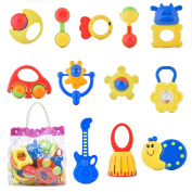 Niuniu Daddy 12 Pieces Baby Rattle and Teether Toy Play Set - Colours May Vary