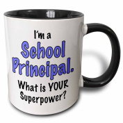 3dRose I'm A School Principal What is Your Superpower. Blue. Two Tone Black Mug, 330ml, Black/White