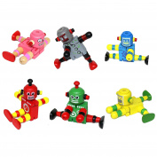 Set of 3 Assorted Colour Wooden Flexi Retro Robot Toys