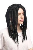 WIG ME UP ® - 90674-ZA103 Man Lady Party Wig Halloween Dreadlocks Rasta Rastafari Black 41cm