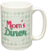 3dRose Moms Diner on Aqua. Retro Hot Pink Turquoise Teal Blue 1950S Style 50S Fifties Kitchen Mothers Day - Ceramic Mug, 440ml