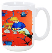Caroline's Treasures 7212CM15 Airedale Terrier With Lady In The Kitchen Microwavable Ceramic Coffee Mug, 440ml, Multicolor