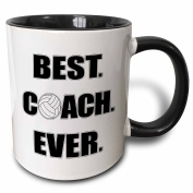 3dRose mug_195231_4 Volleyball Best Coach Ever Two Tone Black Mug, 330ml, Black/White
