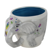 TMD Holdings EEE0504 Festive 3D Indian Elephant Hand Painted and Covered with Rhinestones Novelty Coffee Mug, 470ml, Grey
